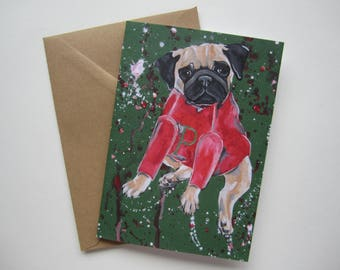Fawn Pug in a Holiday Sweater Card, Holiday Card, Blank Christmas Card by Amber Maki