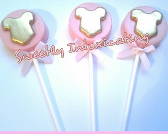 12CT. Baby onesie Oreo lollipops. Pink and gold baby shower favors.Gold onesie lollipops.
