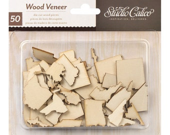 Studio Calico Wood Veneer Shapes, Abroad Collection, 50 States, USA Wood Veneer Die Cut Shapes