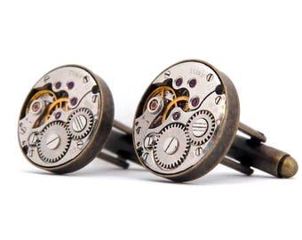 Steampunk Cufflinks, Vintage Watch Mechanism Cuff Links - Antique Bronze Colour. Father's Day, Birthday or Wedding Gift.