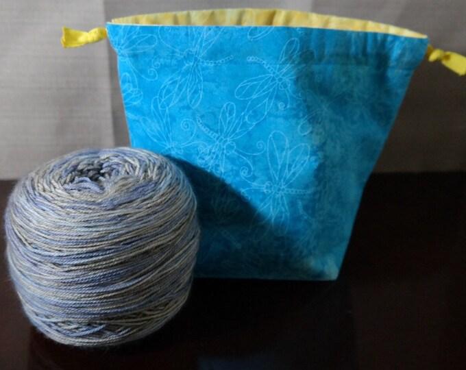 Dragonflies Reversible Drawstring Yarn Cake bag