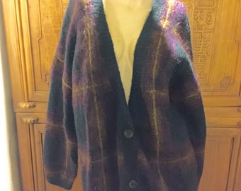 Oversized Vintage Ellen Tracy Allard Mohair Alpaca Wool Cardigan Bohemian Chic Cottage Sweater
