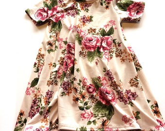 Baby Girl Dress 3/4 years, Floral - Ready to ship