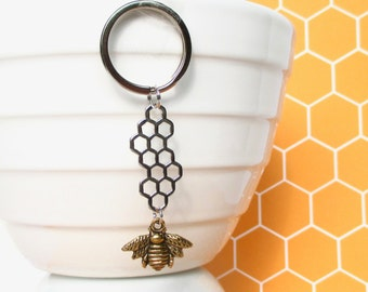 Honey Bee keychain - Bee keeping gift - Honeycomb keyring - Gold bee keyring - Gift for her - Honey Bee gift - Stocking filler - Etsy UK