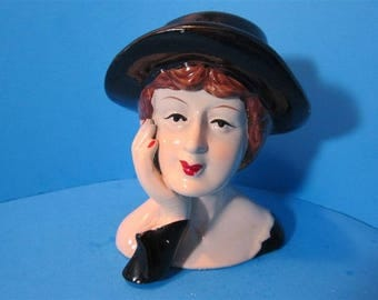 NEW Ceramic Vintage Retro Style Lady Head Sculpture Figurine 1950's Style