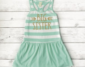 Big Sister Dress, Baby Girl Clothes, Pregnancy Announcement Shirt, Baby and Toddler Girl New Big Sister Outfit Gift 015
