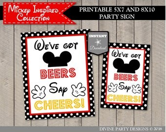 INSTANT DOWNLOAD Printable Mouse 5x7 and 8x10 We've Got Beers, Say Cheers Printable Party Sign / Classic Mouse Collection / Item #1573