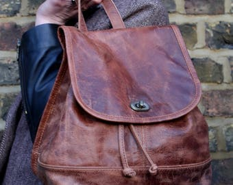 Barcelona Backpack Tan Scrunchy Leather