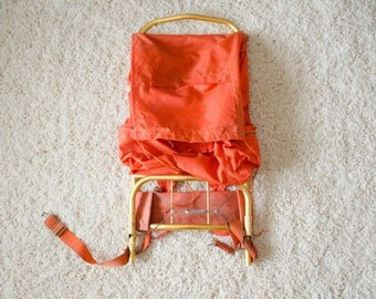 Vintage 1970's Canvas Orange External Frame Hiking Backpack