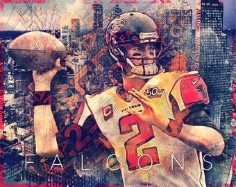 Atlanta Falcons Skyline Art Featuring Fan Favorite Julio - Atlanta falcon us fan map