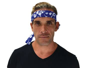 Cool Way To Stay Cool! Summer Heat Cooling Bandana. Cooling Forehead Bandana. Cooling Neck Wrap. Cold Therapy. Neck Coolers. BLUE DESIGN