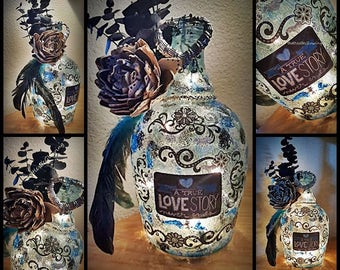 A True Love Story Never Ends Bottle Light with LED Lights
