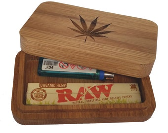 Stash Box. Rolling Tray. Made from Oak in the Uk.