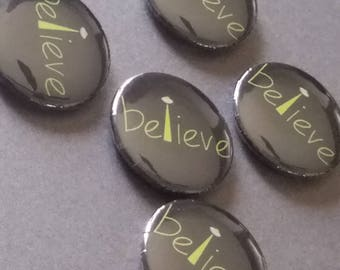 Believe UFO alien abduction pinback badge button pin magnet