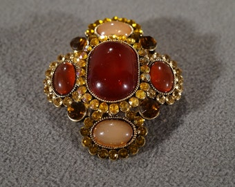 Vintage Art Deco Style Yellow Gold Tone Glass Stone Rhinestone Multi Colored Multi Shaped Pin Brooch Jewelry -K#71