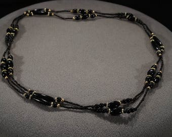 Vintage Art Deco Style Jet Black Glass Beads Yellow Gold Tone Extra Long Length Necklace -K#24
