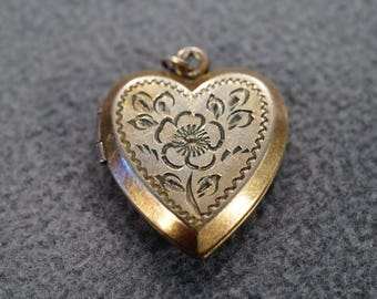 vintage 12 K yellow gold filled heart-shaped hinged locket with etched flower and leaves  M3