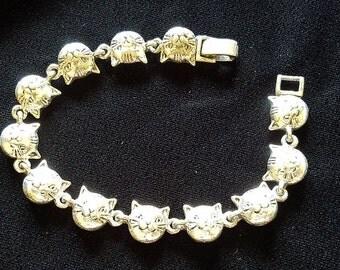 Smiling Kitty Cats Silver Bracelet