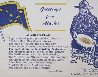 Rare 1952 Alaska Greetings Gold Miner Postcard with Genuine Placer Gold By David C Smith - Free Shipping