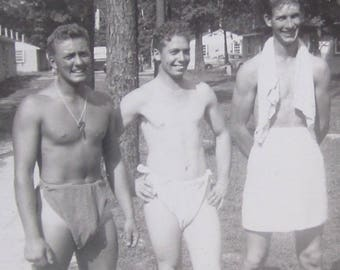 The Retreat - Vintage 1940's Gay Interest Man Candy Snapshot Photograph - Free Shipping