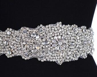Rhinestone satin bridal sash, belt, gown embellishment, white , ivory