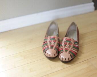 vintage woven tan rainbow  leather hurache sandals womens  9 1/2 *