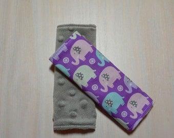 Car Seat Strap Covers - Purple w/ pastel elephants