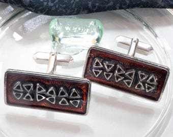 Large vintage cuff links enamel 60s, 70s