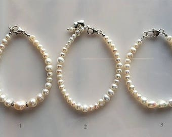 Modern Freshwater Pearl Bracelets - White Pearl Bracelets for Wedding or Mother's Day - Silver Heart Charms