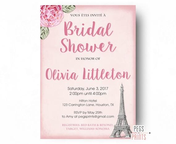 Paris theme bridal shower invitation parisian bridal for Paris themed invitations bridal shower