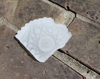 Sea Glass Shard - Fancy White Cut Glass Piece