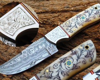"4.0""Damascus Blade  Hunting Knife w/Engraved Steel Bolsters,Engraved Buffalo Bone,File-Work, Sheath cover - UDK-AF-66"