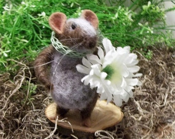 Brown Mouse Is Needle Felted A Soft Sculpture Miniature Collectible  Home Decor From The Hedge Row Collection