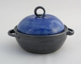 Royal Blue & Black Lidded Casserole Dish