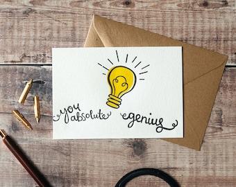 You Absolute Genius Letterpress Greetings Card