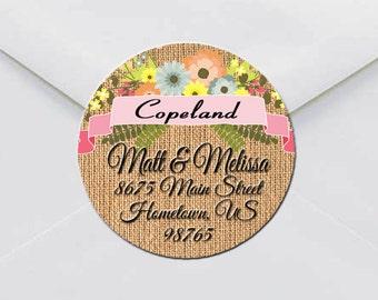 Custom Return Address Labels. Round Address Labels. Custom Address Labels. Personalized Return Address Labels. Burlap and Floral Labels