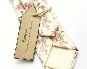 Floral tie, ivory skinny tie, red rose print, mens floral tie, mens skinny tie, wedding tie