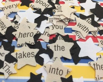 500 | Confetti | STARS | Book Page | Star Decorations | BLACK | WHITE | Paper | Table Scatters | Craft Embellishments | Wedding | Party