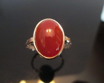 Classically  Set 10x14 MM  Carnelian Cabochon Sterling Ring With Twisted Rolled Band