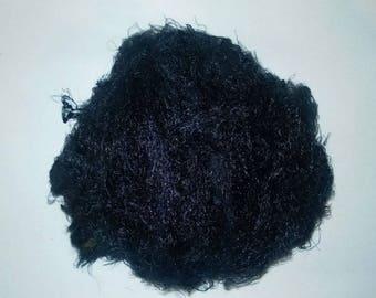 Banana Silk Fiber - black - vegan eco friendly loose textured spinning fiber felting papermaking doll hair crafts