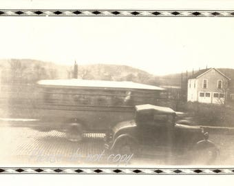 Vintage Snapshot Photo ~ blurry bus  ~ abstract composition