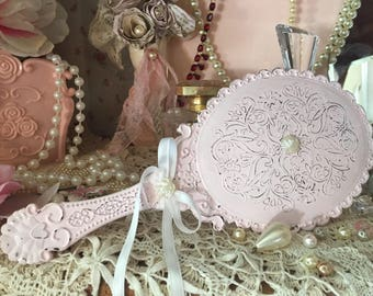 Shabby Chic Vanity Handheld Mirror Vintage Style Boudoir Decor Victorian Inspired Decorations Hand Held Princess Blue Ivory White Pink Gift