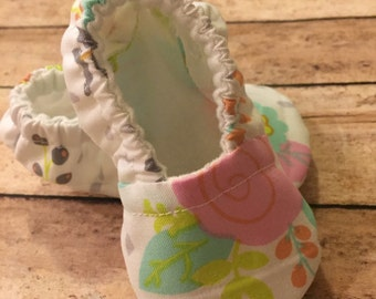 Pink/lime/coral flowers-spring/soft sole/crib shoe
