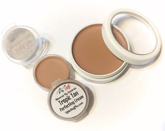 TROPIC TAN Perfecting Cream Foundation - Creamy Foundation Concealer Makeup - Vegan Gluten Free