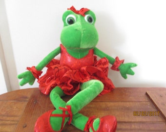 Valentines Ballerina Frog, Valentines Day Frog, Valentines Stuffed Frog Gift