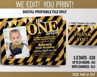 Gold and Black First Birthday Invite, Mr. One-derful Birthday Invitation, Gliters, Printable Invitation