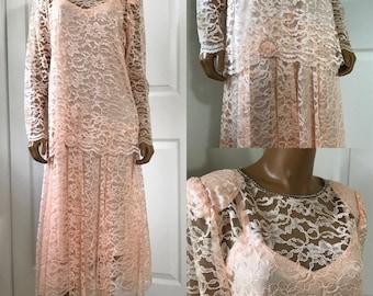 Pink Lace Dress by Gilberti Drop Waist Flapper Style Wedding Dress S/M
