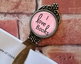 SALE! Antique Bronze Bookmark - I love books