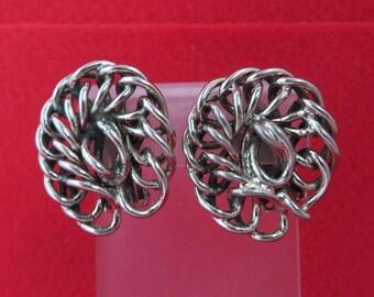 Vintage Freirich Chain Link Earrings - Silver Tone Earrings, 1960s Clip-ons