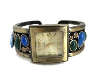 Vintage Bracelet Watch, Faux Gemstone, Rhinestone Cuff, Women's Bracelet Watch